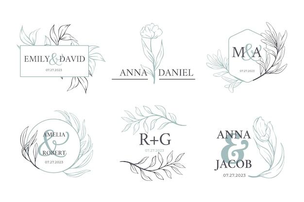Набор каллиграфических свадебных вензелей Бесплатные векторы