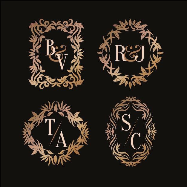 Каллиграфические свадебные логотипы с монограммой Бесплатные векторы