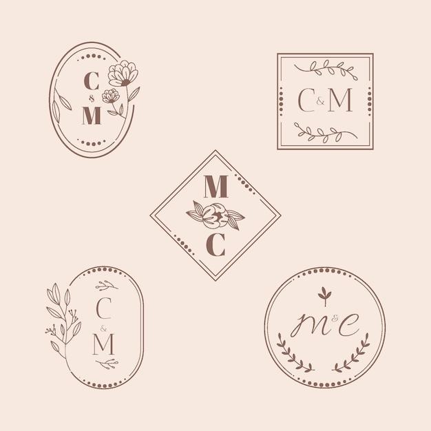 Каллиграфические свадебные монограммы Бесплатные векторы