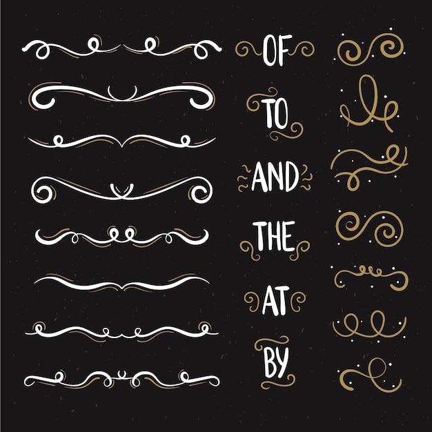 Calligraphic wedding ornament collection Free Vector