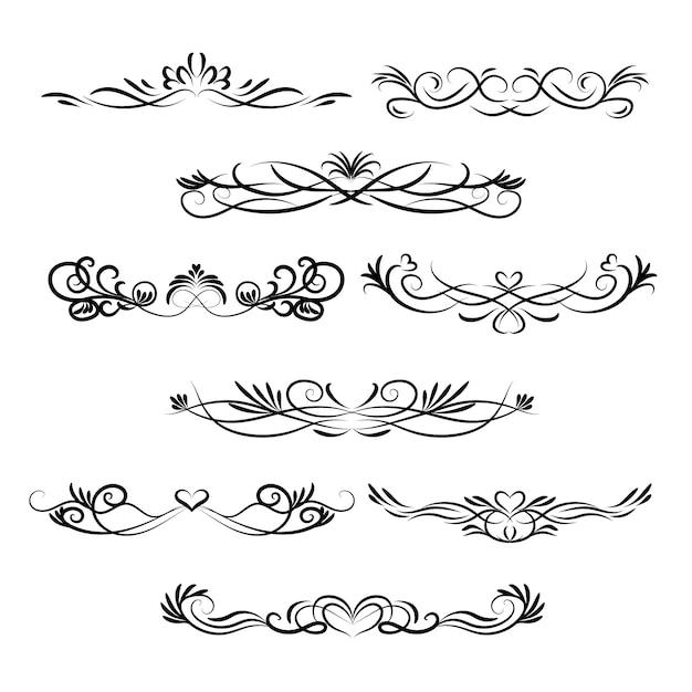 Calligraphic wedding ornament set Free Vector