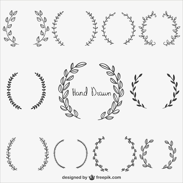 Calligraphic wreaths collection Vector Free Download