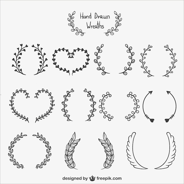 Calligraphic wreaths pack vector free download