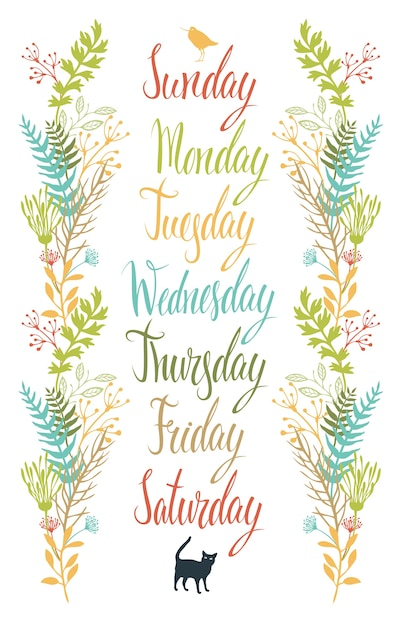 Calligraphy days of the week with flowers vector free