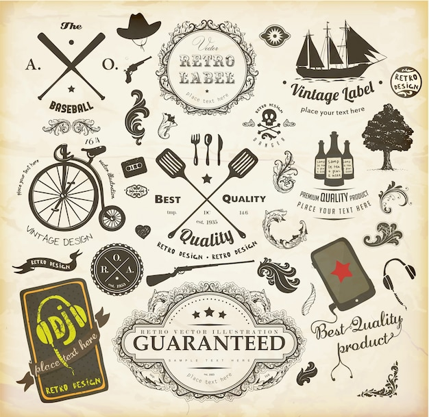 calligraphy element vintage tag quality Premium Vector