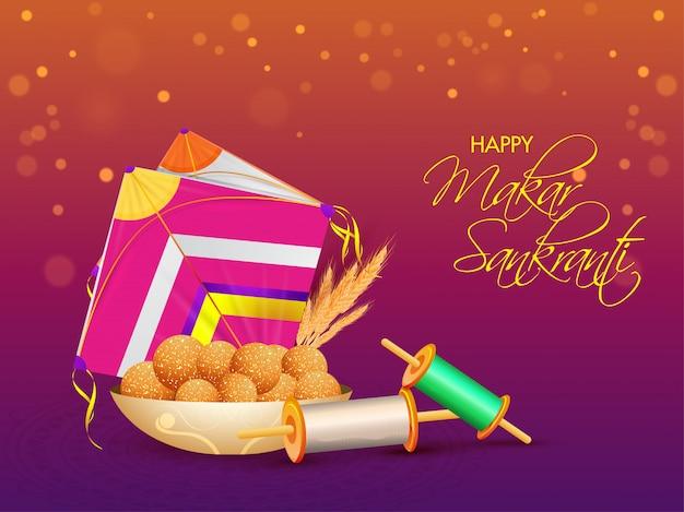 Calligraphy of happy makar sankranti with indian sweet (laddu), colorful kite, string spool on purple and orange bokeh . Premium Vector