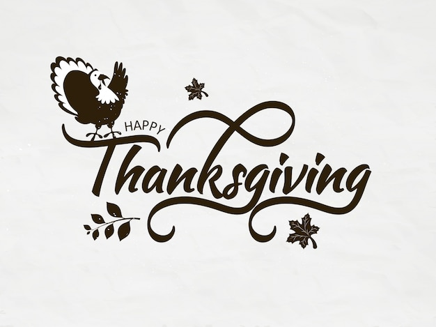 Calligraphy of happy thanksgiving with turkey bird and autumn leaves on white   greeting card Premium Vector