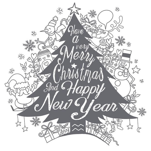 Calligraphy lettering christmas tree with cute whimsical christmas characters Premium Vector