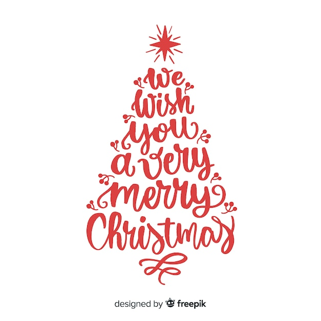 Calligraphy lettering christmas tree Vector | Free Download