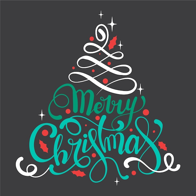 Calligraphy lettering christmas tree Free Vector
