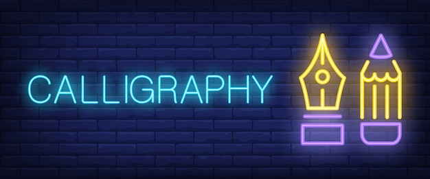 Calligraphy neon text with fountain pen and pencil Free Vector
