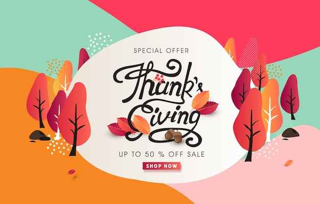 Calligraphy of thanksgiving day banner. autumn seasonal lettering. Premium Vector