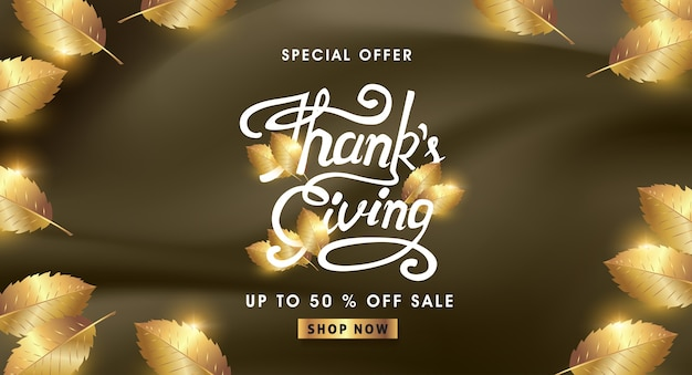 Calligraphy of thanksgiving day banner. autumn seasonal lettering. Premium Vector