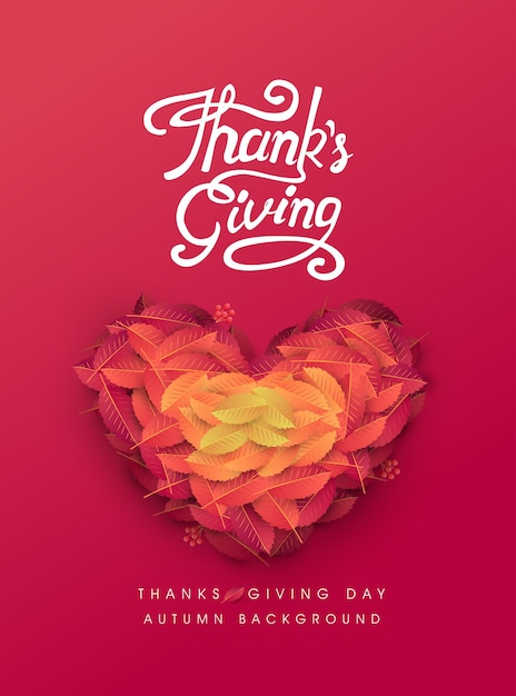 Calligraphy of thanksgiving day poster. autumn seasonal lettering. Premium Vector