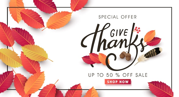 Calligraphy of thanksgiving day sale banner. seasonal lettering. Premium Vector