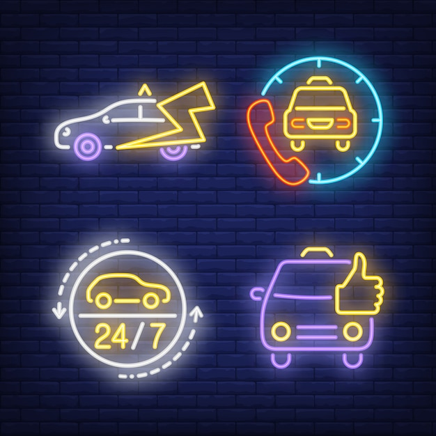 Calling taxi cab neon signs set Vector | Free Download