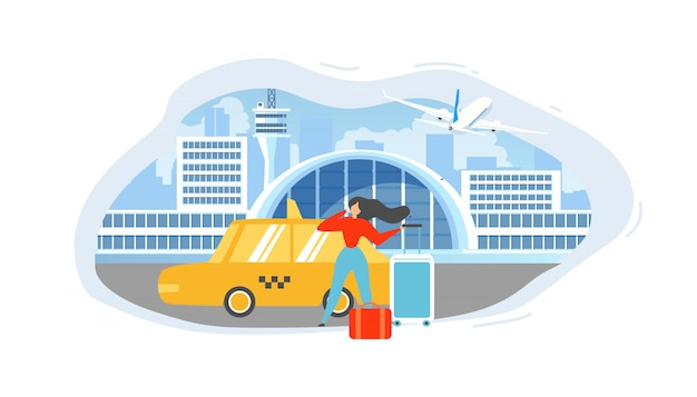 Calling taxi from airport flat vector concept Premium Vector