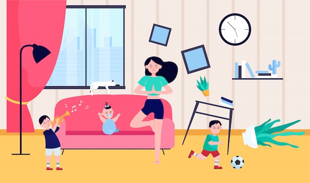 Calm mother doing yoga among naughty kids Free Vector