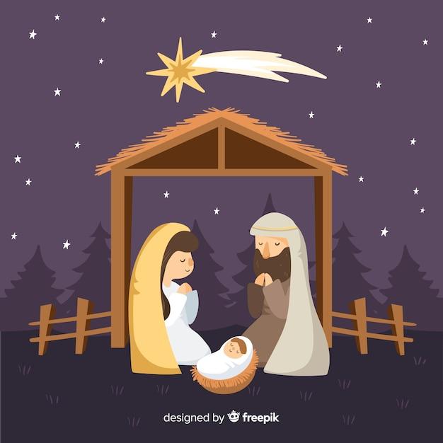 Calm night nativity background Free Vector