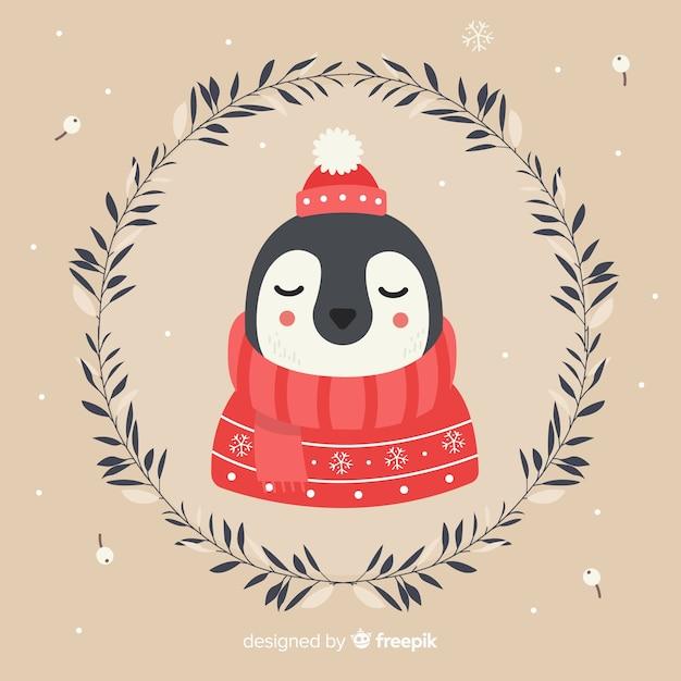 Sfondo di natale calmo pinguino Vettore gratuito