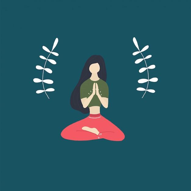 Calm yoga girl Premium Vector