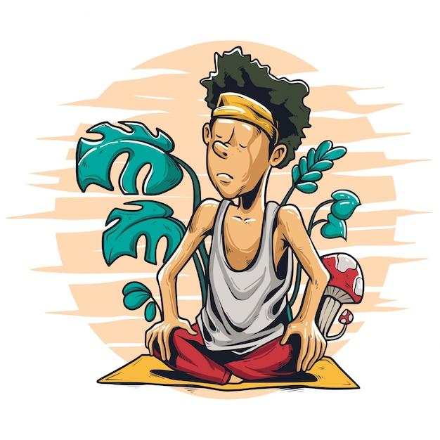 Спокойствие в йоге иллюстрации Premium векторы