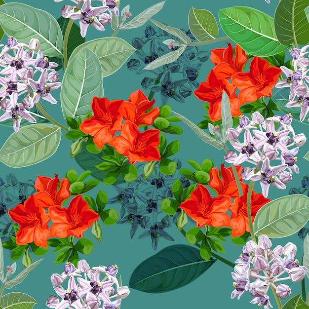 紫の花、calotropis gigantea花または王冠とセスバニアの黄色の花、シームレスなパターン Premiumベクター