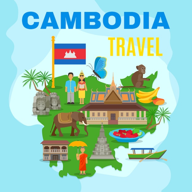 Cambodia cultural travel map flat poster Free Vector