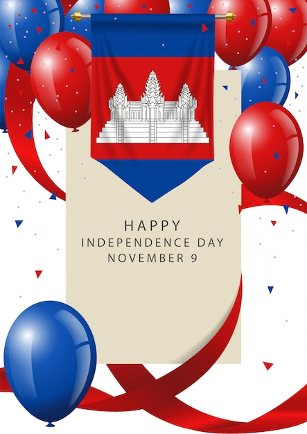 Cambodia independence day greeting card Premium Vector