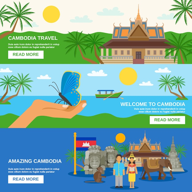 Cambodian culture horizontal banners set Free Vector