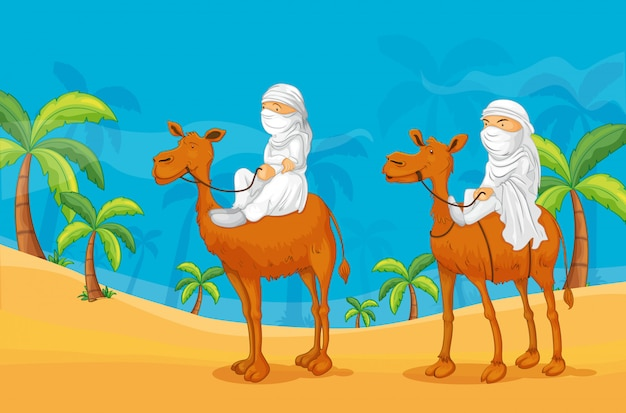Camel and arabs Free Vector