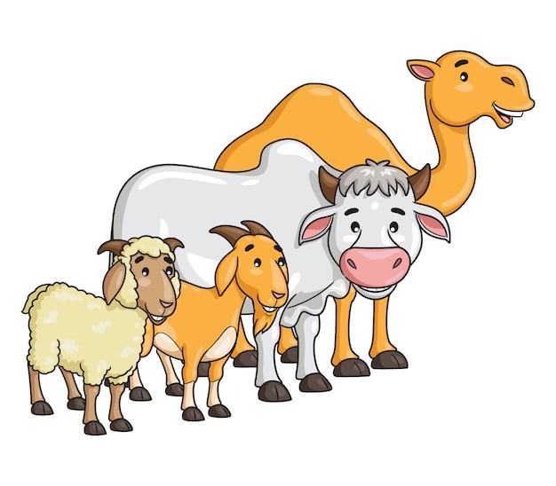 Мультфильм верблюд, корова, коза и овцы Premium векторы