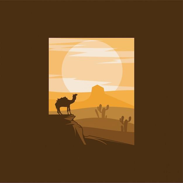 Верблюд пустыня логотип дизайн иллюстрация Premium векторы