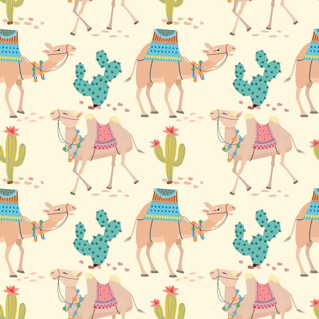 Camel in desert with cactus seamless pattern. Premium Vector
