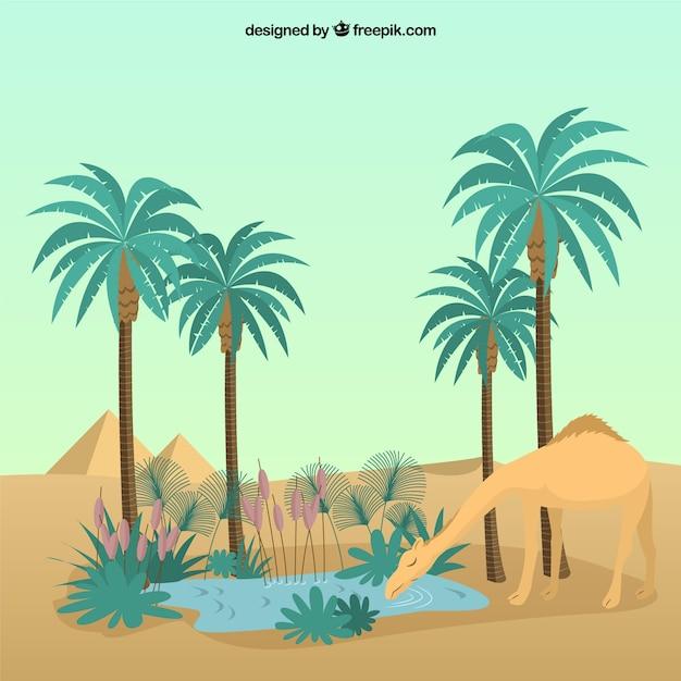 Camel in the desert Free Vector