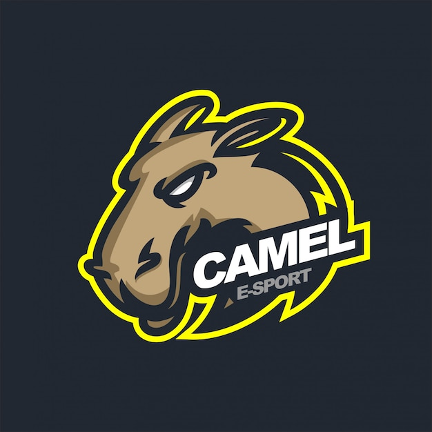 Camel e-sport gaming mascot logo template Premium Vector
