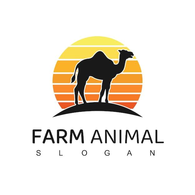 Иллюстрация логотипа верблюда Premium векторы