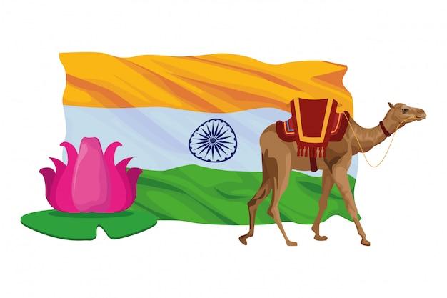 Camel and lotus flower icon cartoon Premium Vector