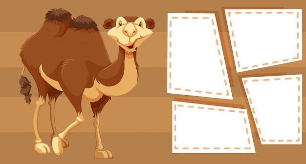 Camel on note background Free Vector