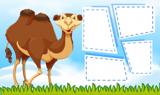 Camel on note template Free Vector