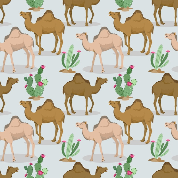 Camels and cactus in the desert pattern. Premium Vector