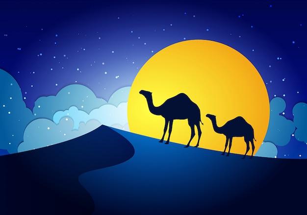 Camels in the desert night, moon, paper art Premium Vector