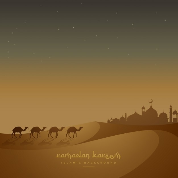 Camels walking in a desert Free Vector