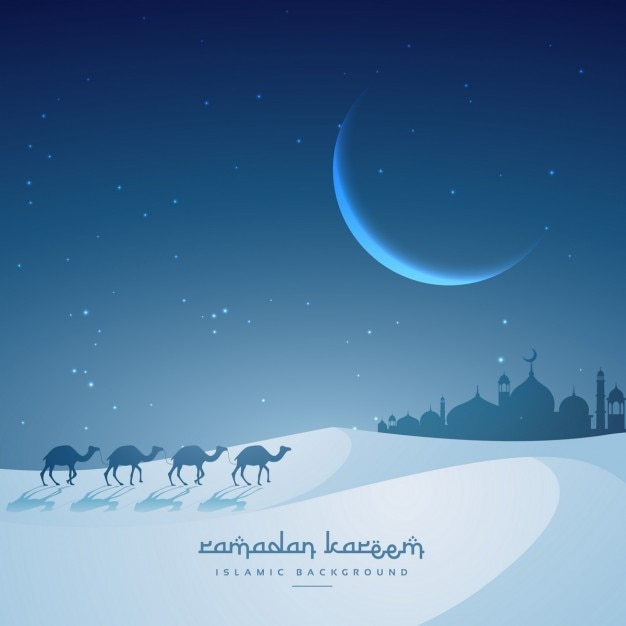 Camels walking in a night desert Free Vector