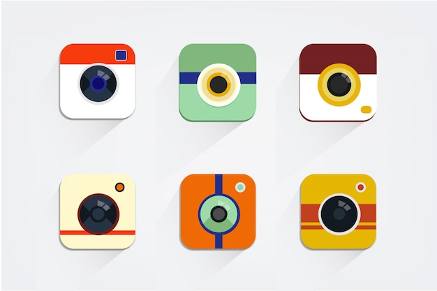 Camera apps for mobile phone Free Vector
