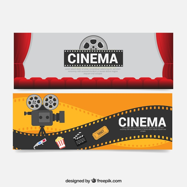 Camera banners and movie elements Free Vector