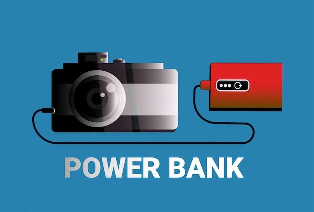 Camera charging from power bank portable charger concept mobile battery device Premium Vector