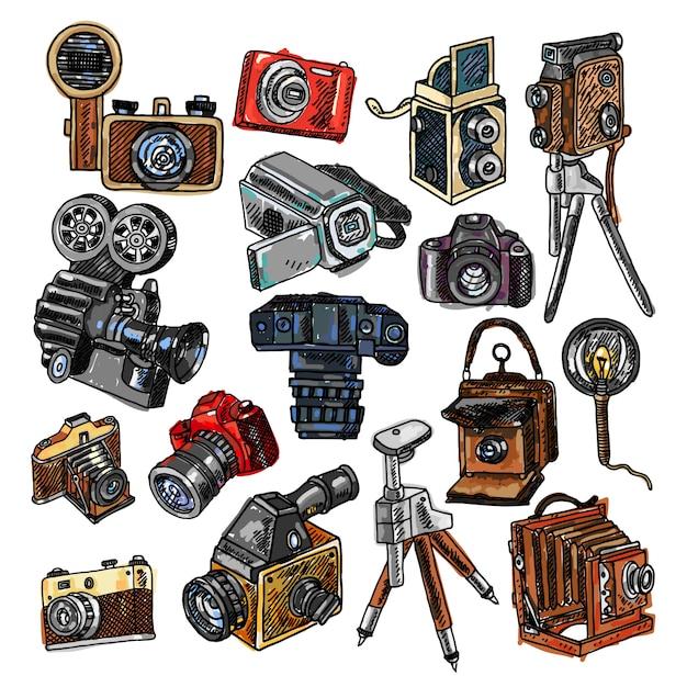 Camera doodle sketch icons set Free Vector
