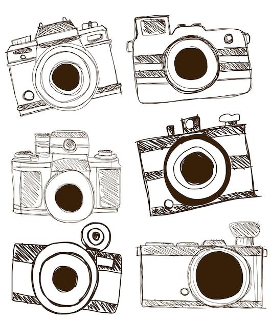 Camera doodle vector. Premium Vector