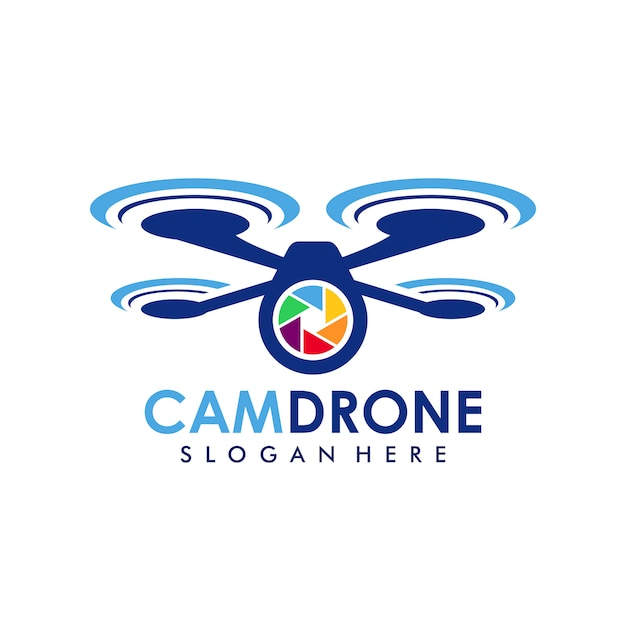 Camera drone logo template Premium Vector